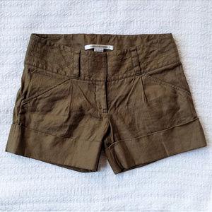 Diane von Furstenberg Jonah Linen Olive Shorts 4
